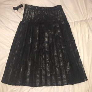 Bebe Black Lace and pu pleat midi skirt